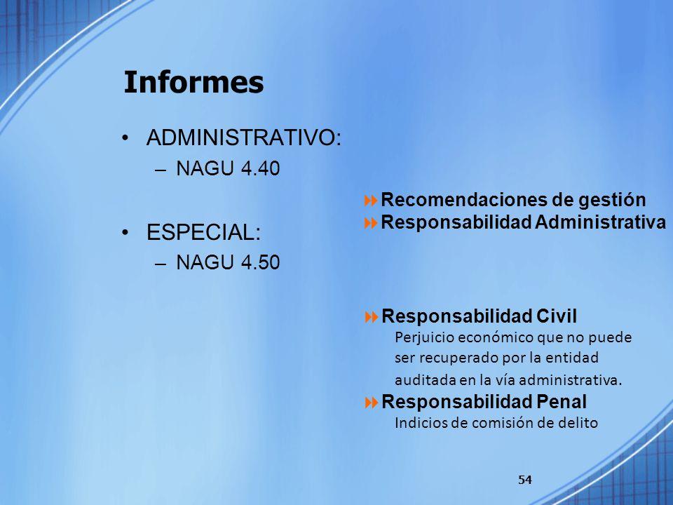 Informes ADMINISTRATIVO: ESPECIAL: NAGU 4.40 NAGU 4.50