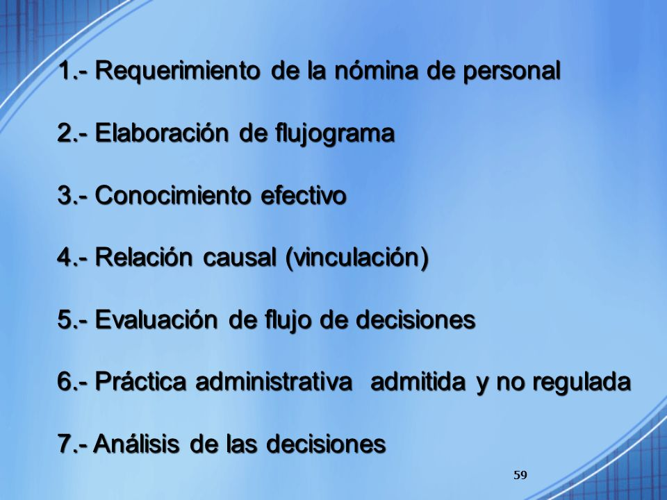 1.- Requerimiento de la nómina de personal