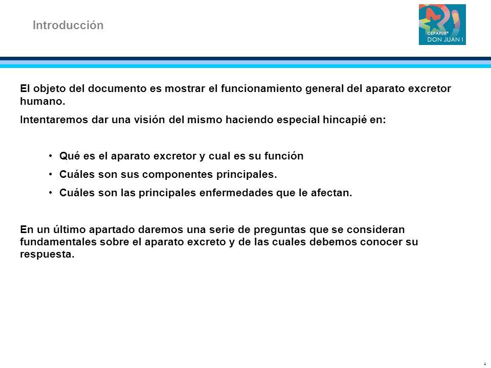 Introducción El objeto del documento es mostrar el funcionamiento general del aparato excretor humano.