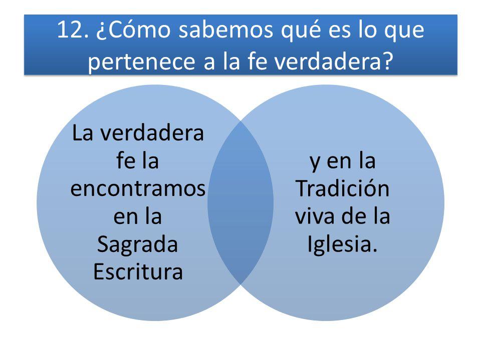 12. ¿Cómo sabemos qué es lo que pertenece a la fe verdadera