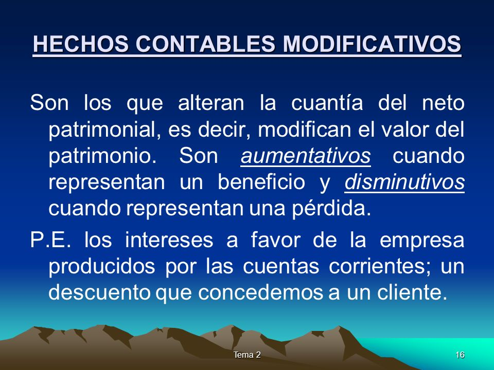 HECHOS CONTABLES MODIFICATIVOS