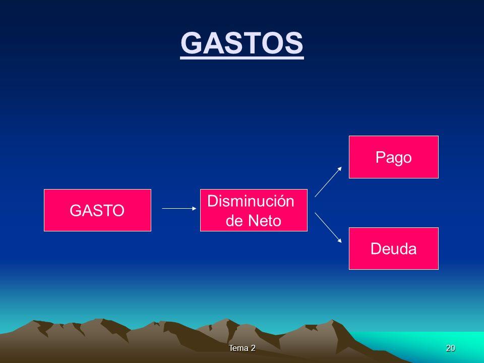 GASTOS Pago GASTO Disminución de Neto Deuda Tema 2