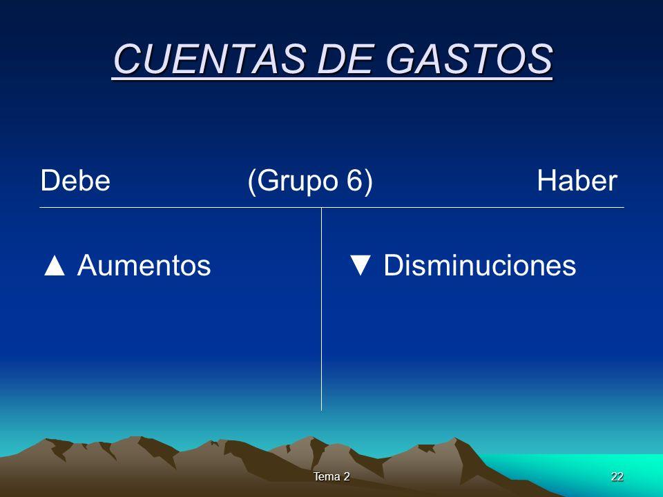 CUENTAS DE GASTOS Debe (Grupo 6) Haber ▲ Aumentos ▼ Disminuciones