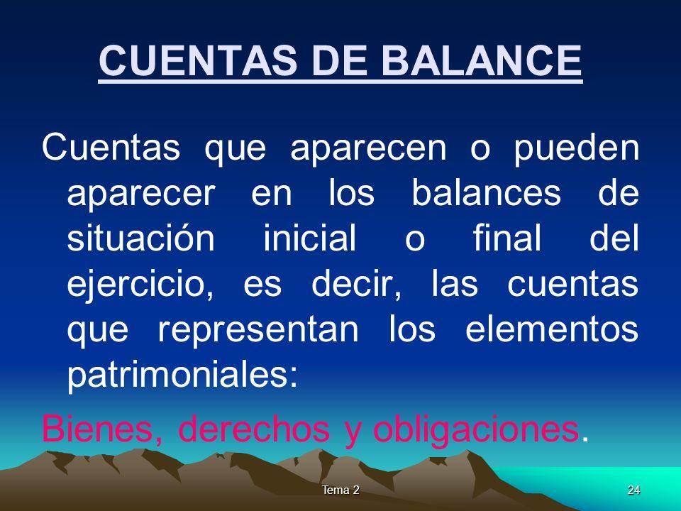CUENTAS DE BALANCE