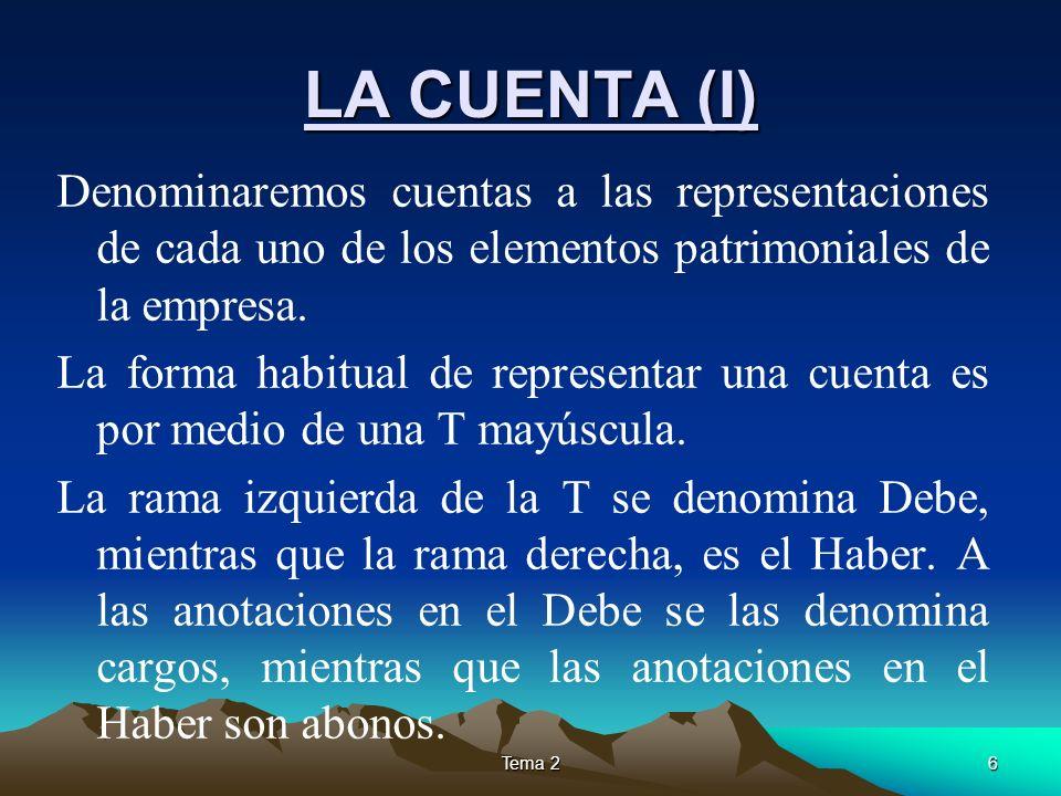 LA CUENTA (I) Denominaremos cuentas a las representaciones de cada uno de los elementos patrimoniales de la empresa.