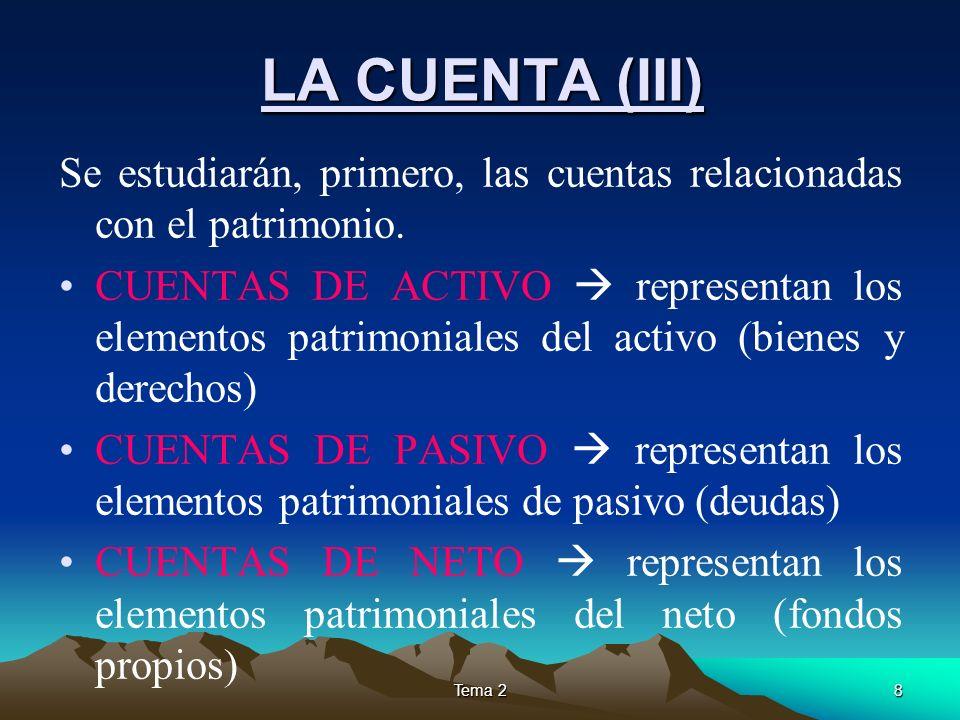 LA CUENTA (III)Se estudiarán, primero, las cuentas relacionadas con el patrimonio.