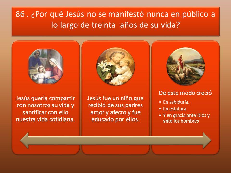 86 . ¿Por qué Jesús no se manifestó nunca en público a lo largo de treinta años de su vida