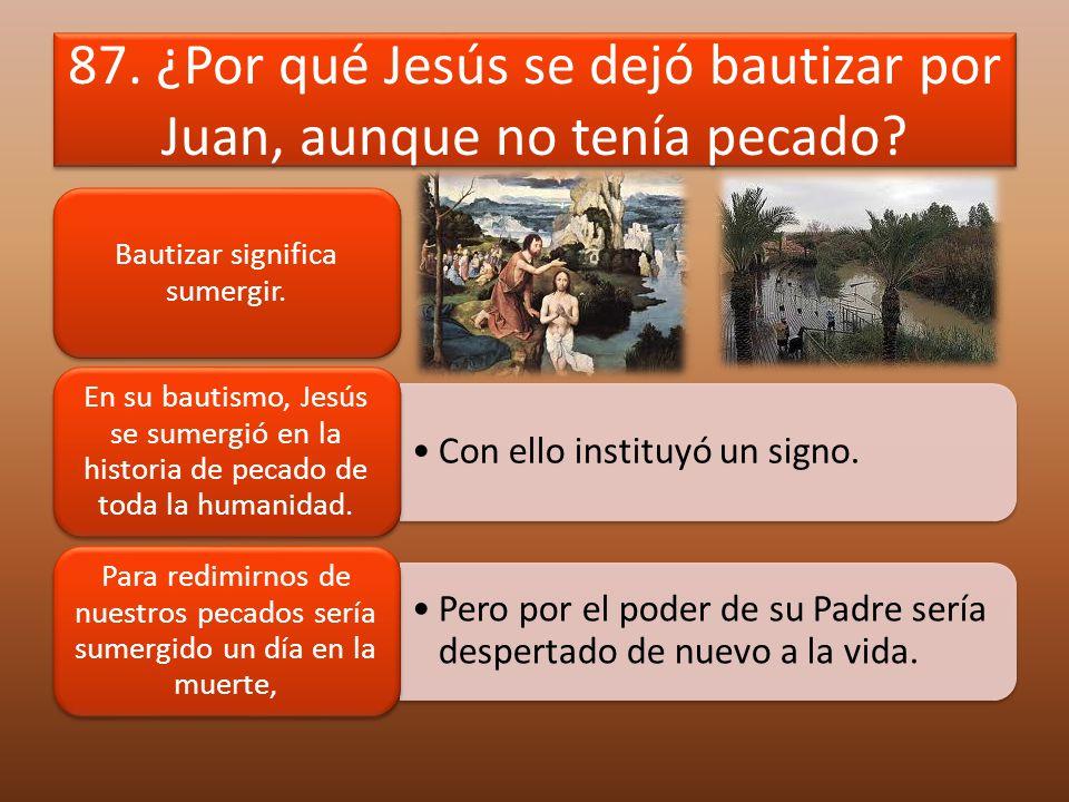 87. ¿Por qué Jesús se dejó bautizar por Juan, aunque no tenía pecado