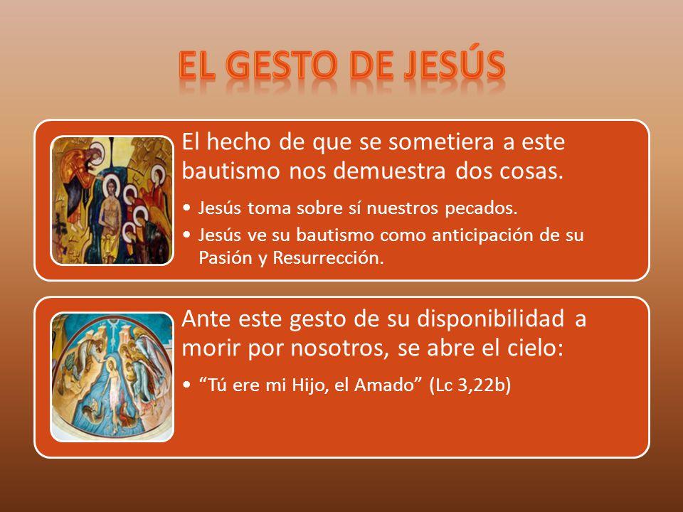 El gesto de Jesús El hecho de que se sometiera a este bautismo nos demuestra dos cosas. Jesús toma sobre sí nuestros pecados.