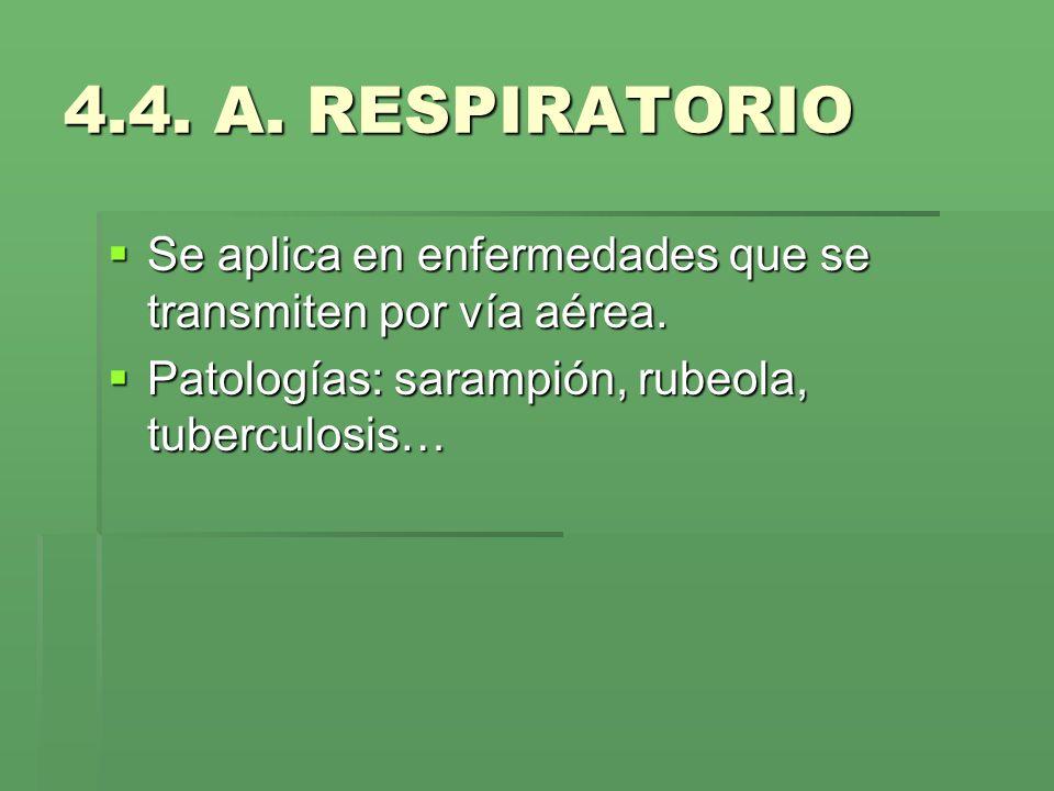 4.4. A. RESPIRATORIO Se aplica en enfermedades que se transmiten por vía aérea.