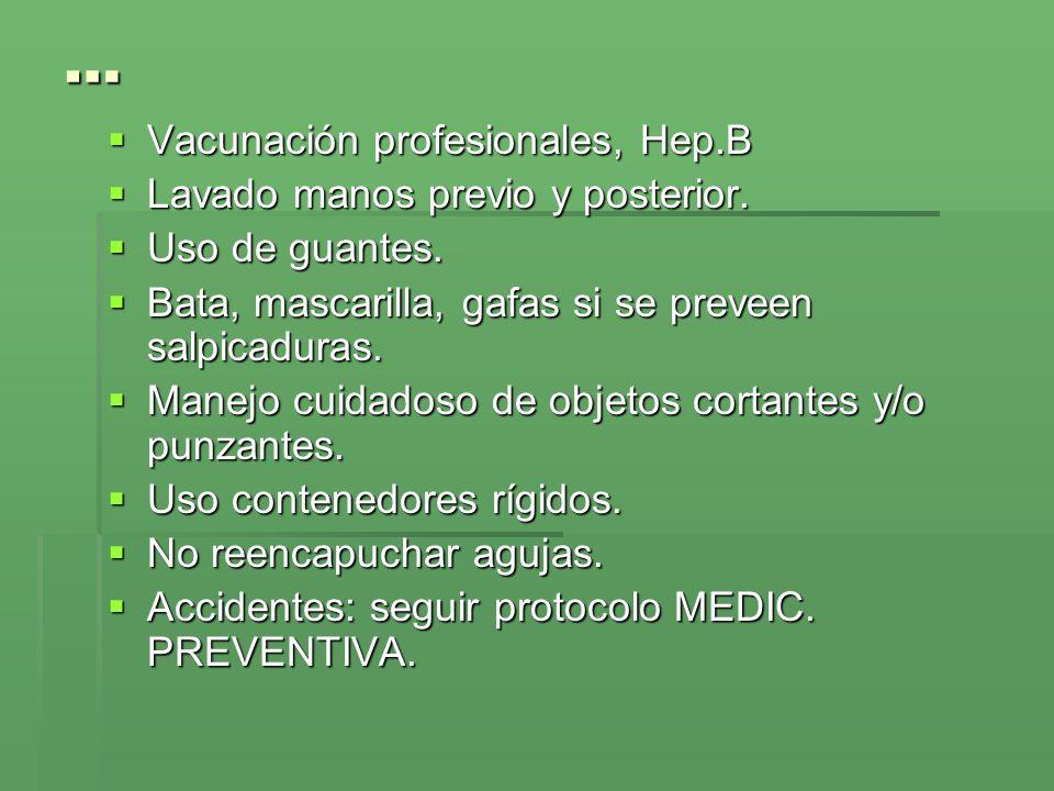 … Vacunación profesionales, Hep.B Lavado manos previo y posterior.