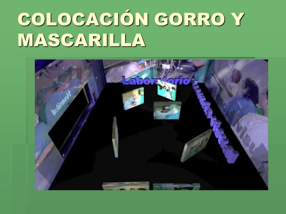 COLOCACIÓN GORRO Y MASCARILLA