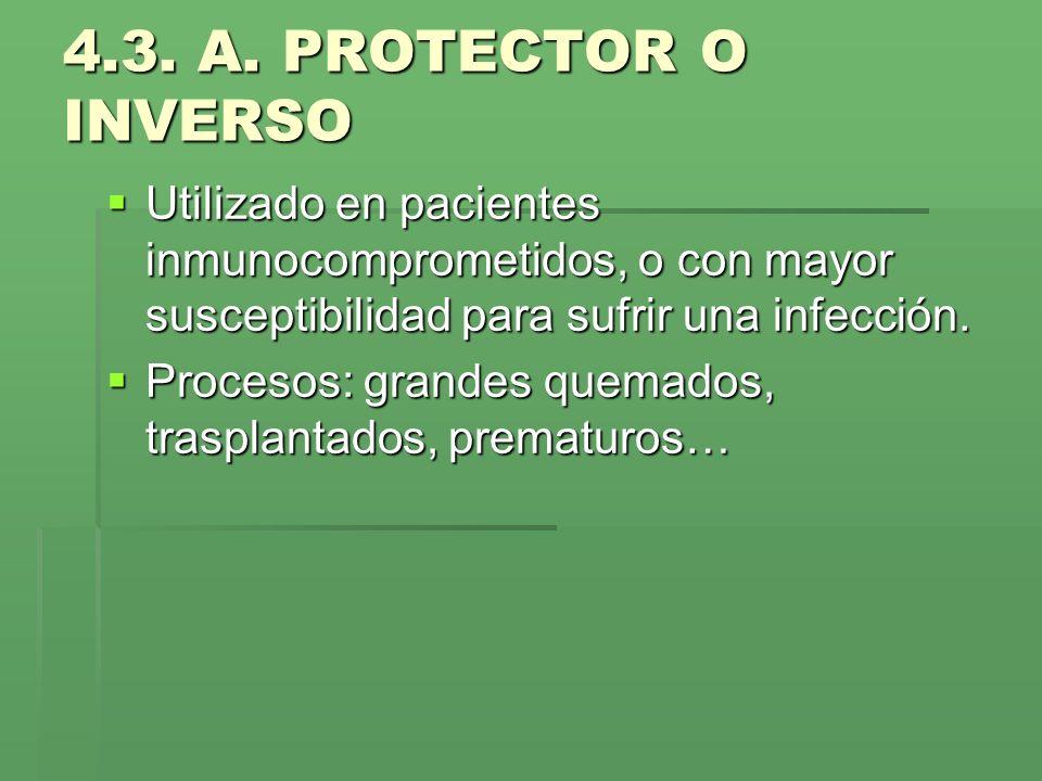 4.3. A. PROTECTOR O INVERSOUtilizado en pacientes inmunocomprometidos, o con mayor susceptibilidad para sufrir una infección.