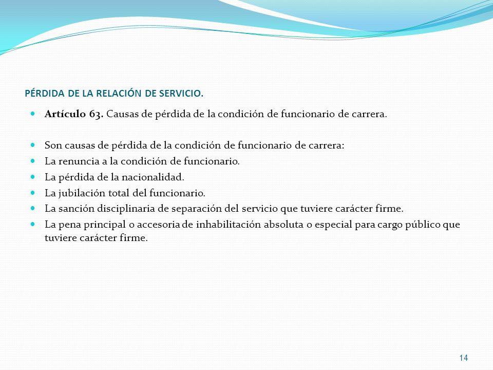 PÉRDIDA DE LA RELACIÓN DE SERVICIO.