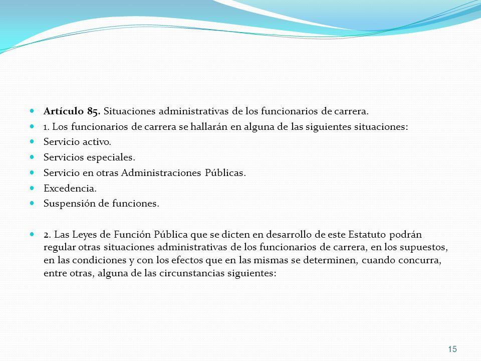 Artículo 85. Situaciones administrativas de los funcionarios de carrera.