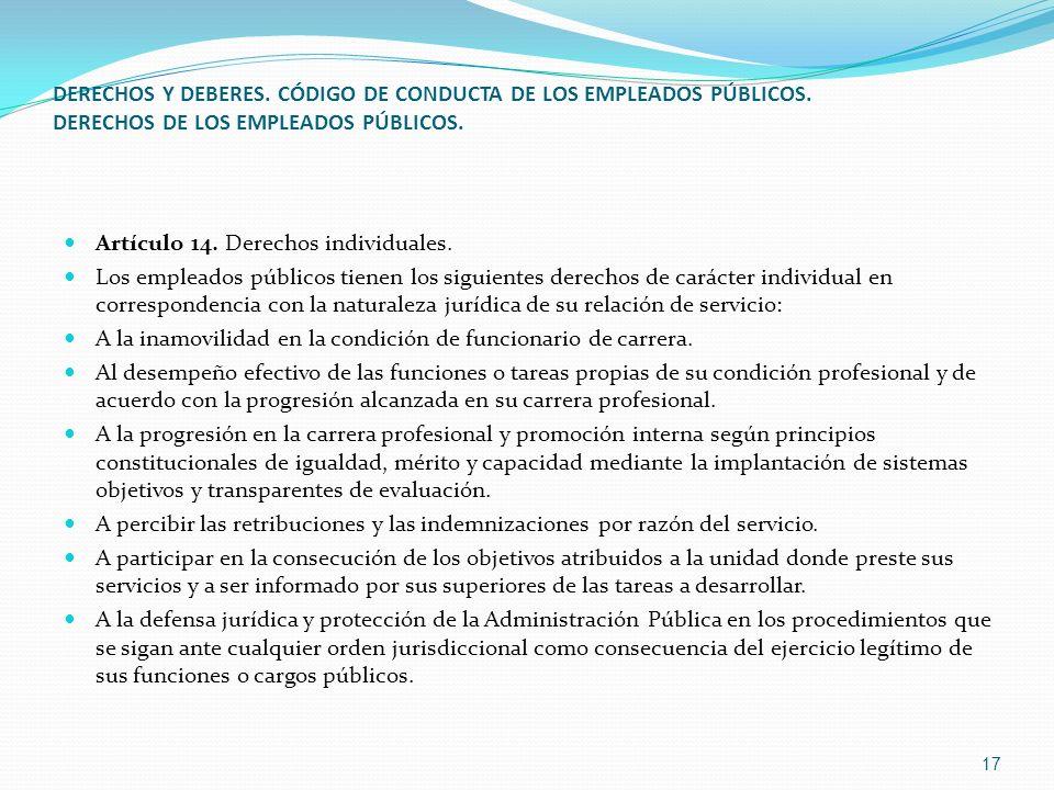 DERECHOS Y DEBERES. CÓDIGO DE CONDUCTA DE LOS EMPLEADOS PÚBLICOS