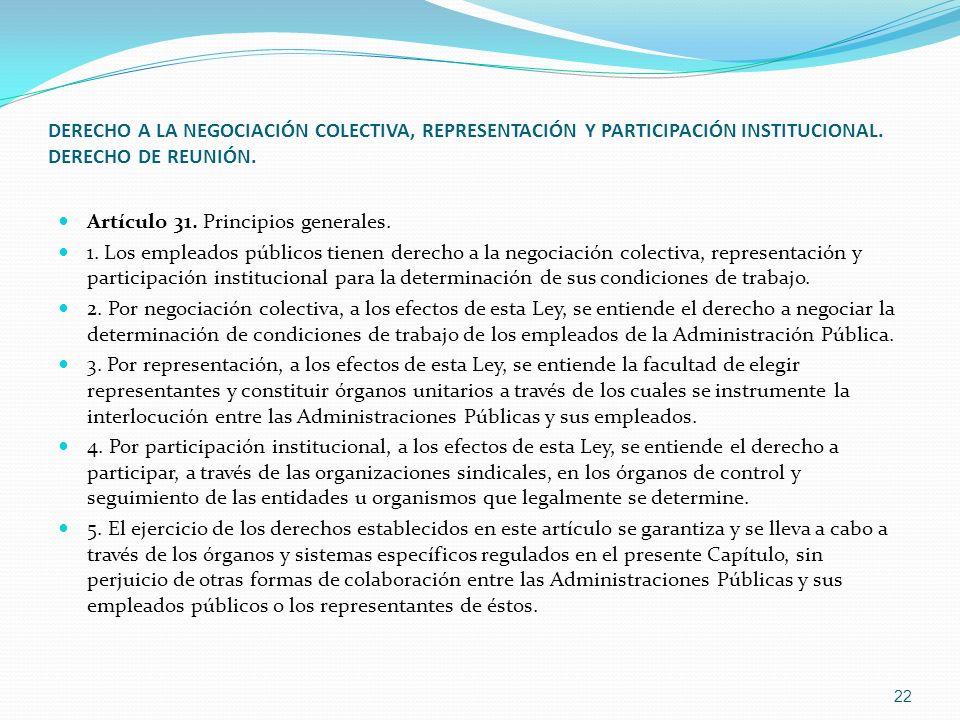 DERECHO A LA NEGOCIACIÓN COLECTIVA, REPRESENTACIÓN Y PARTICIPACIÓN INSTITUCIONAL. DERECHO DE REUNIÓN.