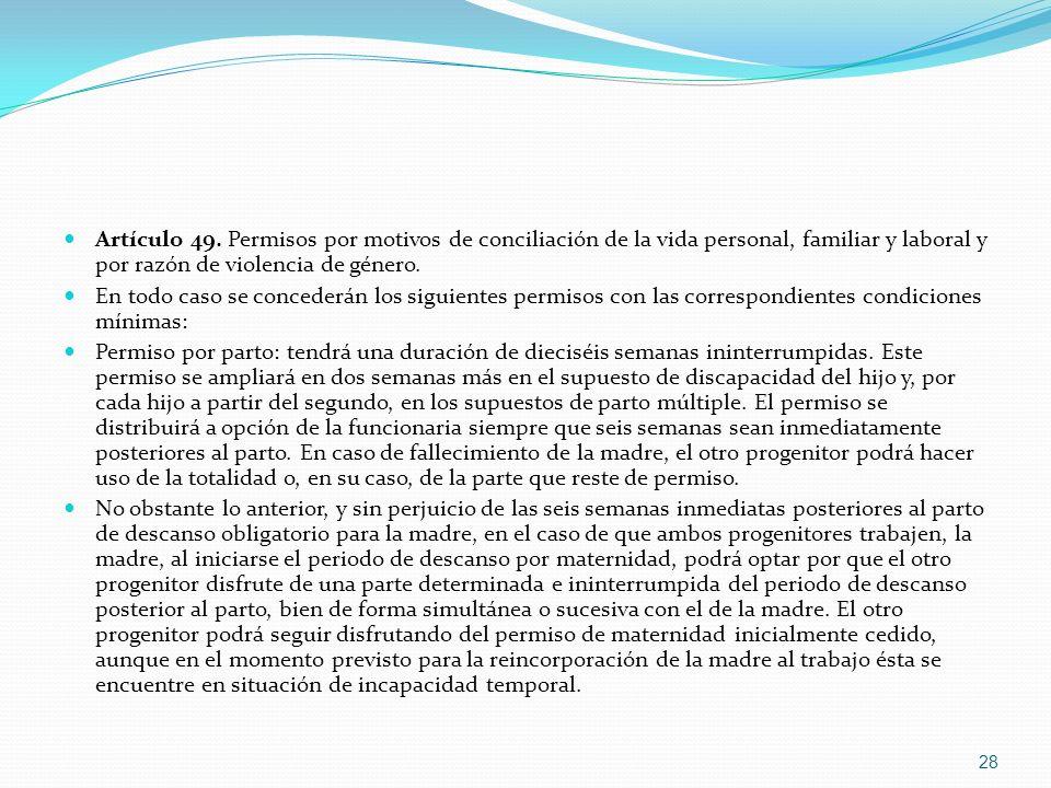 Artículo 49. Permisos por motivos de conciliación de la vida personal, familiar y laboral y por razón de violencia de género.