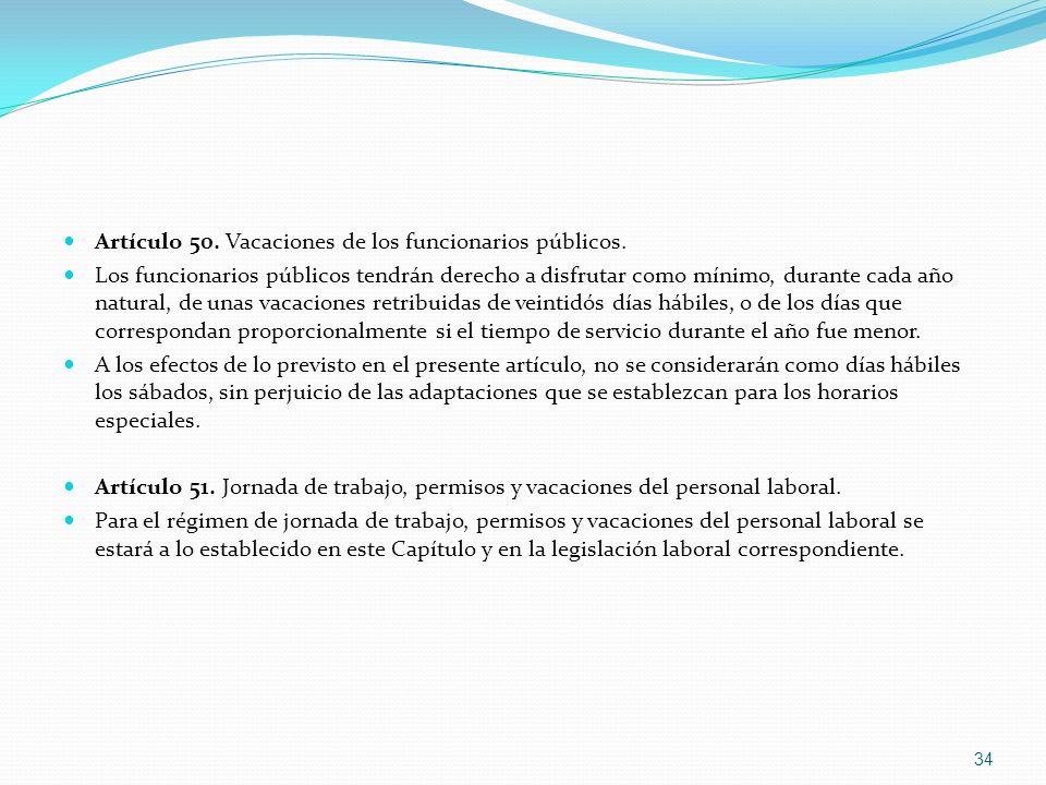 Artículo 50. Vacaciones de los funcionarios públicos.