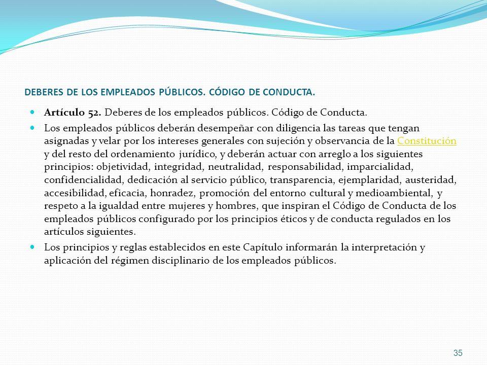 DEBERES DE LOS EMPLEADOS PÚBLICOS. CÓDIGO DE CONDUCTA.