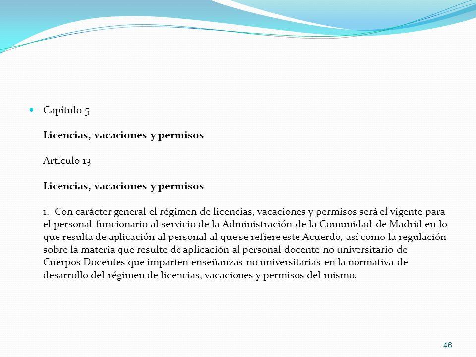 Capítulo 5 Licencias, vacaciones y permisos Artículo 13 Licencias, vacaciones y permisos 1.