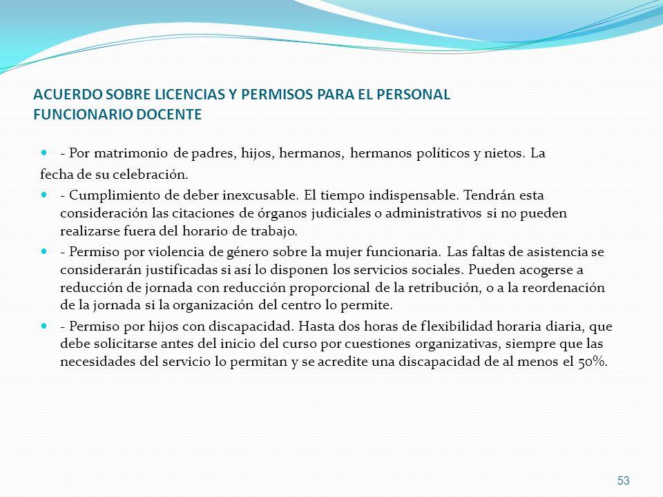 ACUERDO SOBRE LICENCIAS Y PERMISOS PARA EL PERSONAL FUNCIONARIO DOCENTE