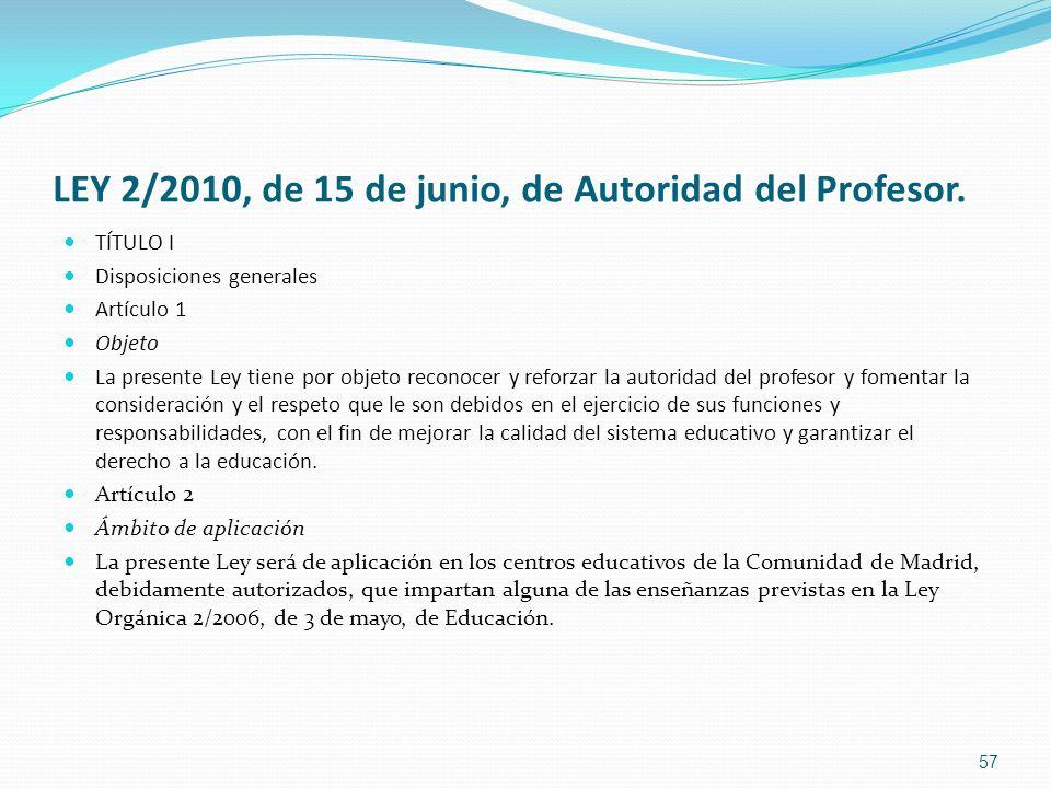 LEY 2/2010, de 15 de junio, de Autoridad del Profesor.