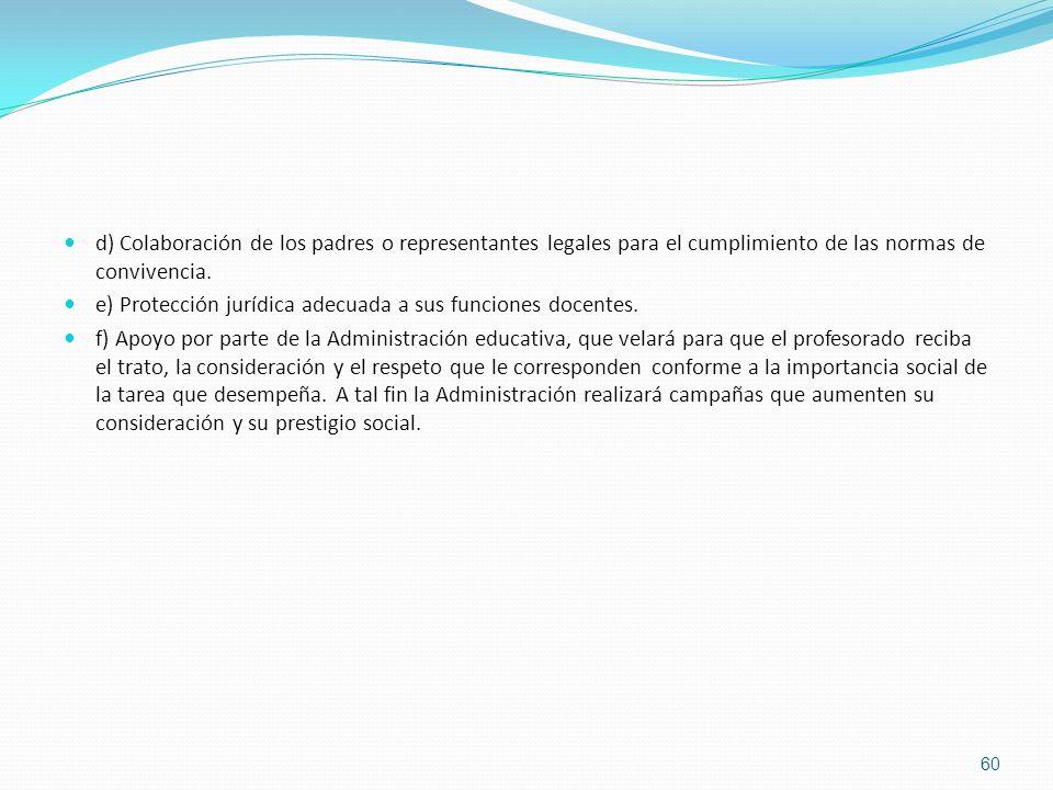 d) Colaboración de los padres o representantes legales para el cumplimiento de las normas de convivencia.