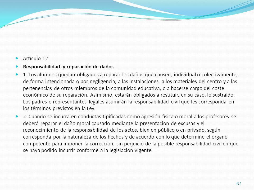 Artículo 12 Responsabilidad y reparación de daños.