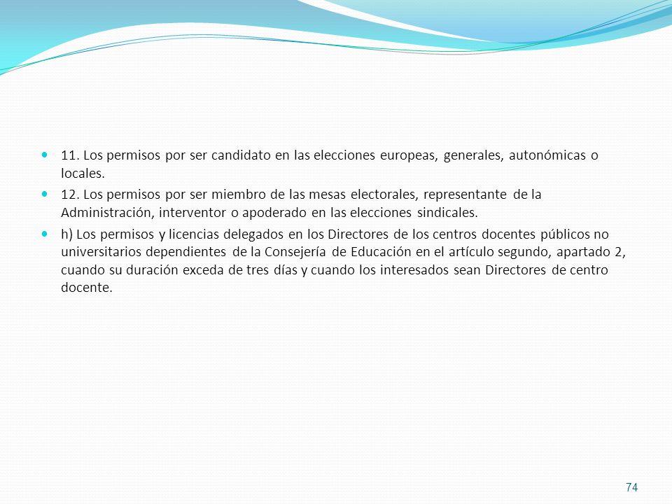 11. Los permisos por ser candidato en las elecciones europeas, generales, autonómicas o locales.