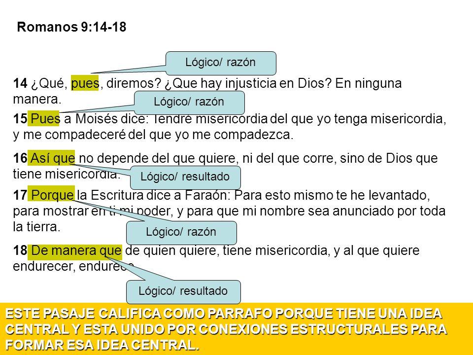 Romanos 9:14-18 Lógico/ razón. 14 ¿Qué, pues, diremos ¿Que hay injusticia en Dios En ninguna manera.