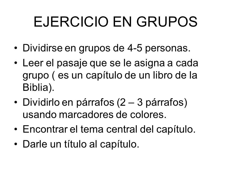 EJERCICIO EN GRUPOS Dividirse en grupos de 4-5 personas.