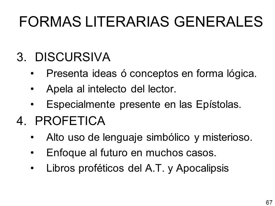 FORMAS LITERARIAS GENERALES
