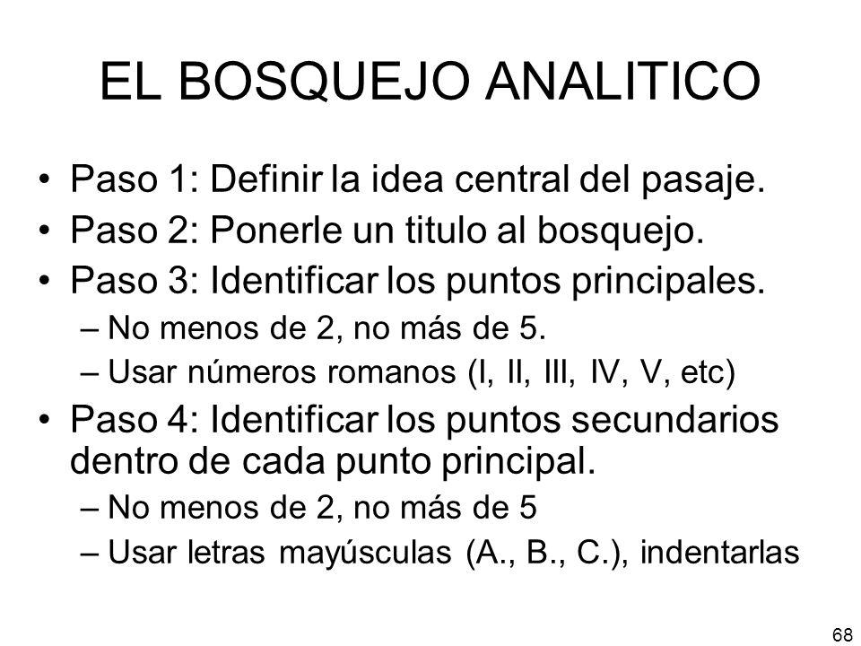 EL BOSQUEJO ANALITICO Paso 1: Definir la idea central del pasaje.
