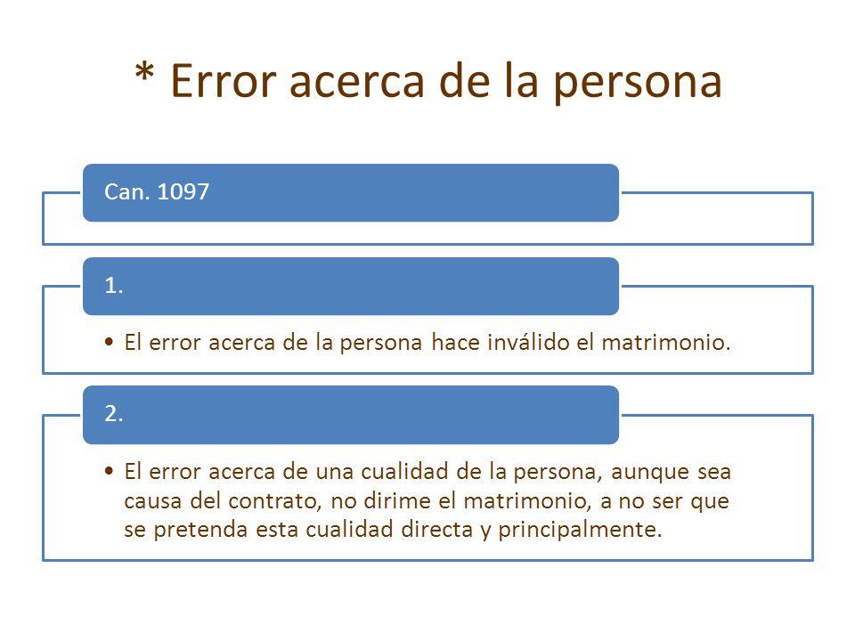 * Error acerca de la persona