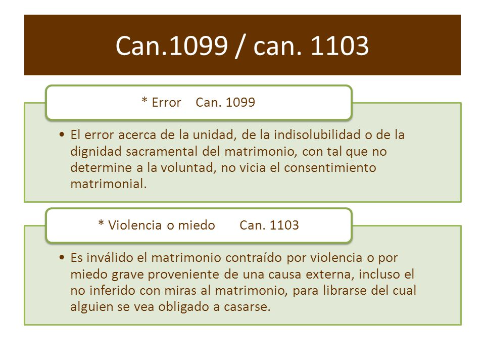 Can.1099 / can. 1103 * Error Can. 1099.