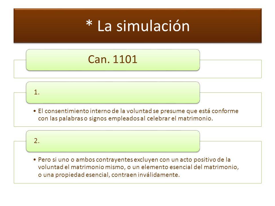 * La simulación Can. 1101. 1.