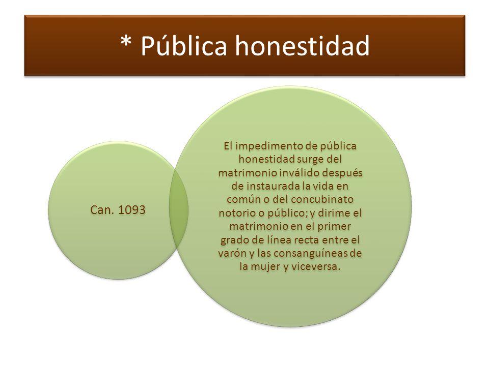 * Pública honestidad Can. 1093