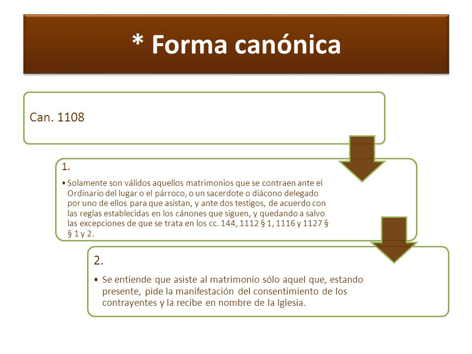 * Forma canónica Can. 1108. 1.