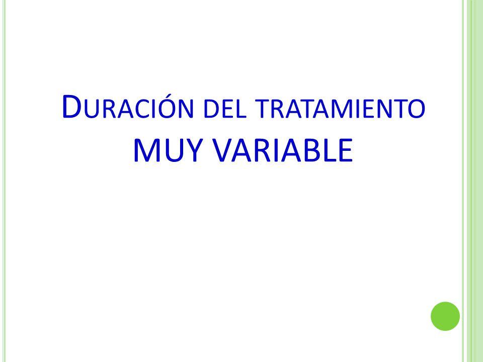 Duración del tratamiento MUY VARIABLE