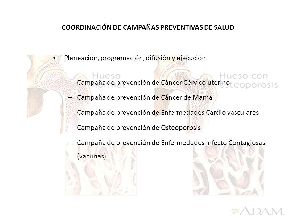 COORDINACIÓN DE CAMPAÑAS PREVENTIVAS DE SALUD