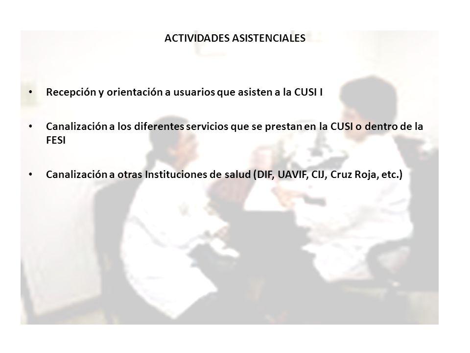 ACTIVIDADES ASISTENCIALES