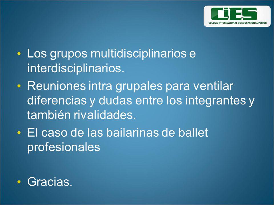 Los grupos multidisciplinarios e interdisciplinarios.