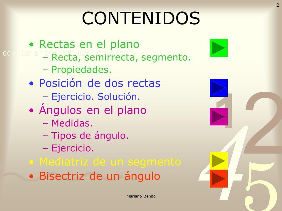 CONTENIDOS Rectas en el plano Posición de dos rectas