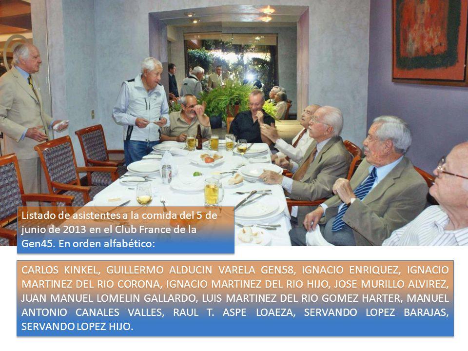 Listado de asistentes a la comida del 5 de junio de 2013 en el Club France de la Gen45. En orden alfabético: