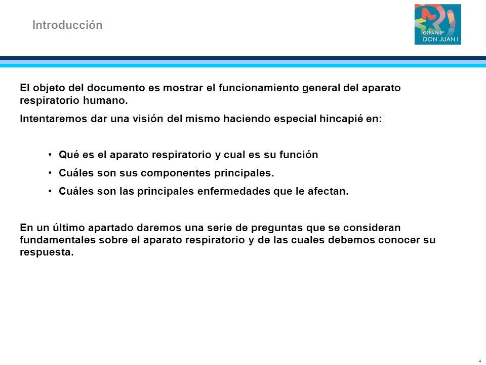 Introducción El objeto del documento es mostrar el funcionamiento general del aparato respiratorio humano.