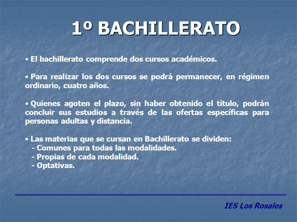 1º BACHILLERATO El bachillerato comprende dos cursos académicos.