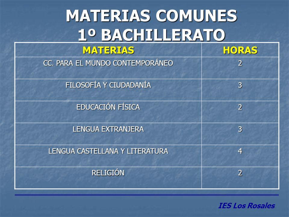 MATERIAS COMUNES 1º BACHILLERATO