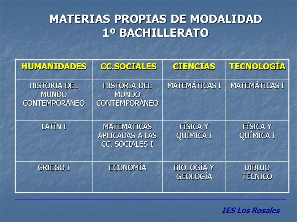 MATERIAS PROPIAS DE MODALIDAD 1º BACHILLERATO