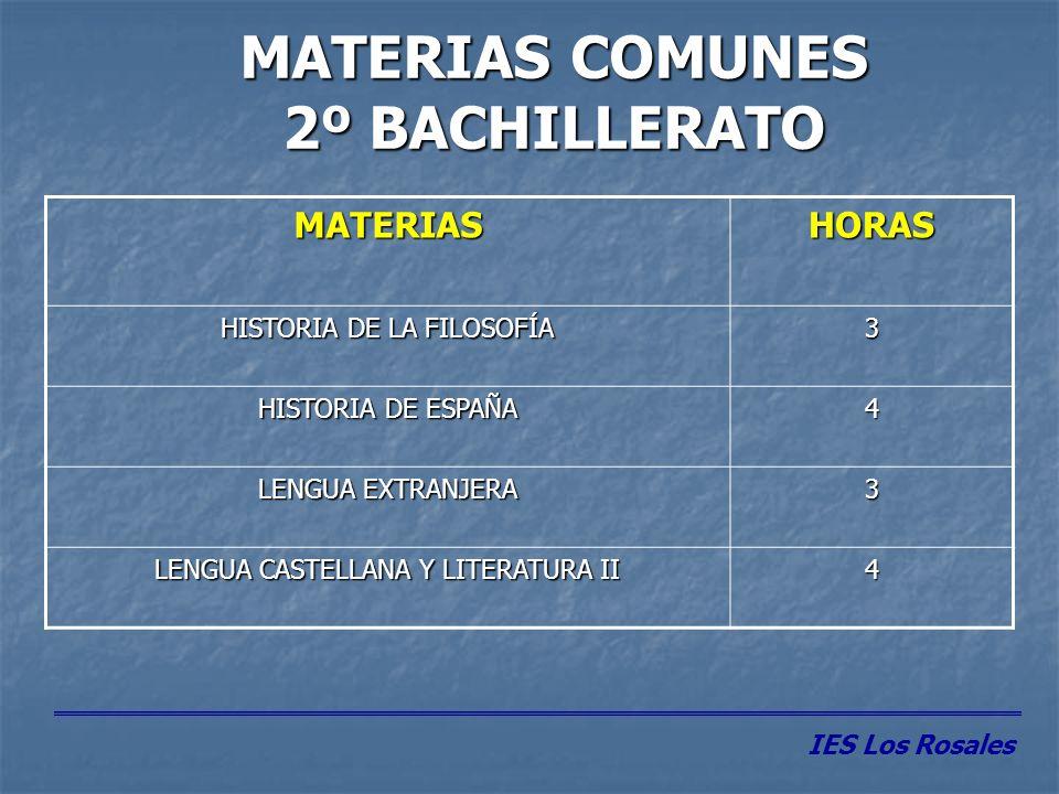 MATERIAS COMUNES 2º BACHILLERATO